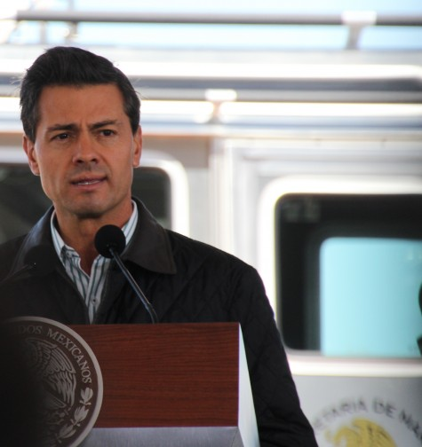 President Enrique Peña Nieto announces the latest vaquita conservation plan in front of a Defender high-speed boat dedicated to enforcement in the northern Gulf of California.